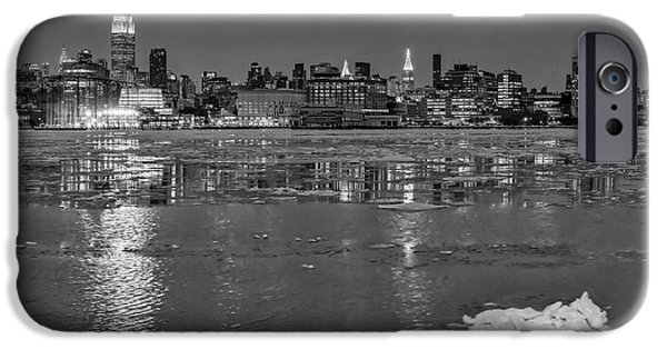 Chrysler iPhone Cases - Frozen Midtown Manhattan NYC BW iPhone Case by Susan Candelario