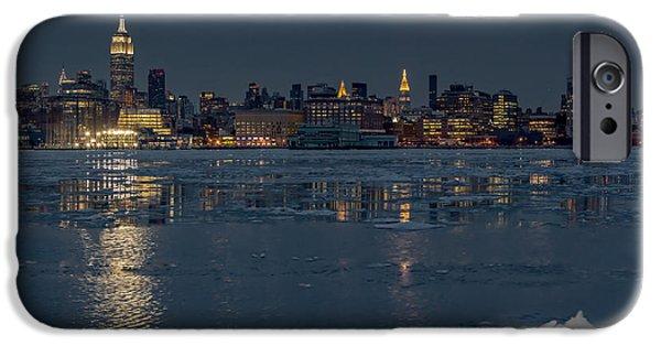 Wintertime iPhone Cases - Frozen Midtown Manhattan NYC iPhone Case by Susan Candelario
