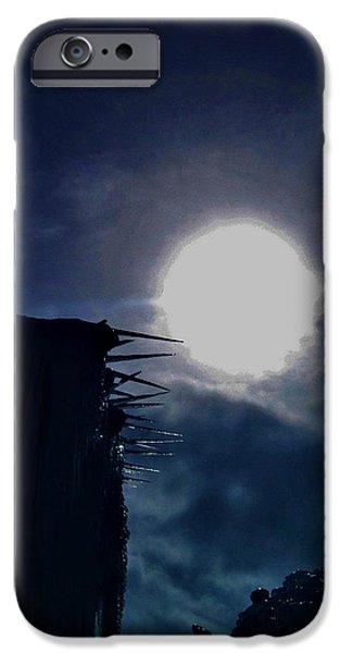 People Pyrography iPhone Cases - Frozen moon.. iPhone Case by Cristina Mihailescu