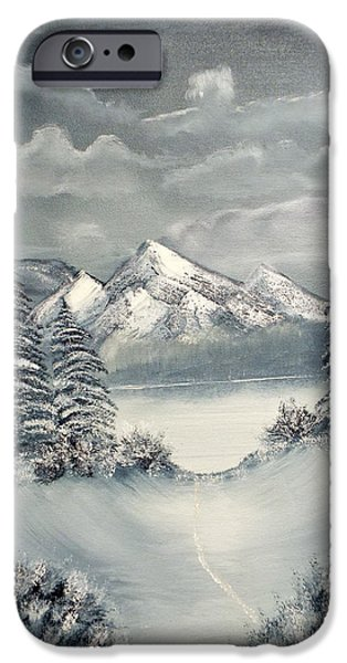 Bob Ross Paintings iPhone Cases - Frozen Mountain iPhone Case by Joyce Krenson