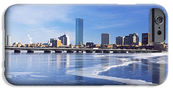 Charles River iPhone Cases - Frozen Over Charles River With Harvard iPhone Case by Panoramic Images