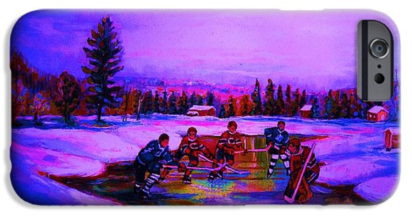 Hockey Paintings iPhone Cases - Frozen Pond iPhone Case by Carole Spandau