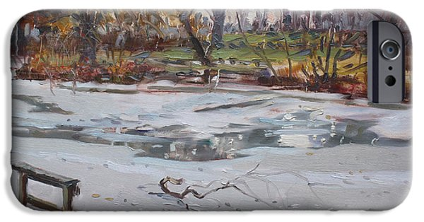 Winter Drawings iPhone Cases - Frozen Pond iPhone Case by Ylli Haruni