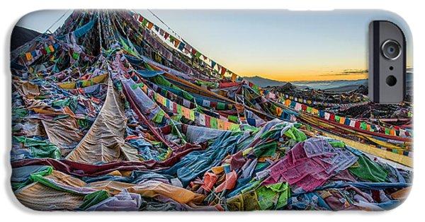 Tibetan Buddhism iPhone Cases - Frozen Prayer Flags iPhone Case by James Wheeler
