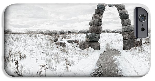 Snow iPhone Cases - Frozen Stone Arch iPhone Case by Scott Norris