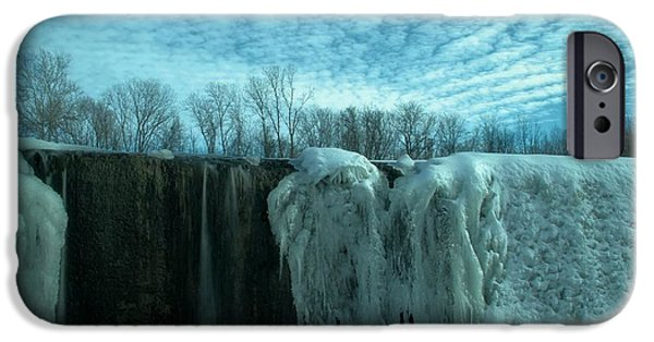 Snow Melt iPhone Cases - Frozen Waterfall In Winter iPhone Case by Dan Sproul