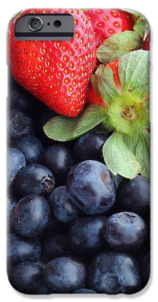 Fruit 2- Strawberries - Blueberries iPhone Case by Barbara Griffin