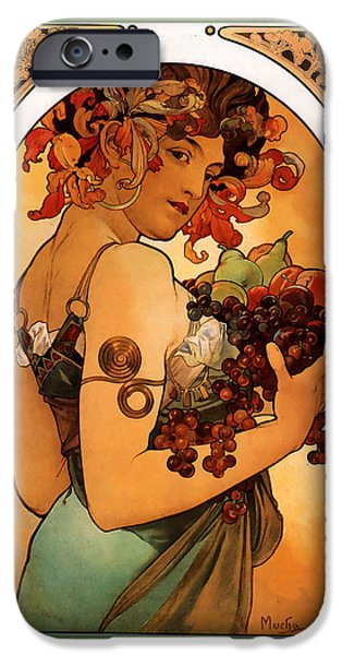 Pare iPhone Cases - Fruit iPhone Case by Alphonse Maria Mucha