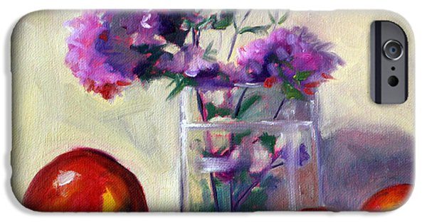 Business Paintings iPhone Cases - Fruit and Mint iPhone Case by Nancy Merkle