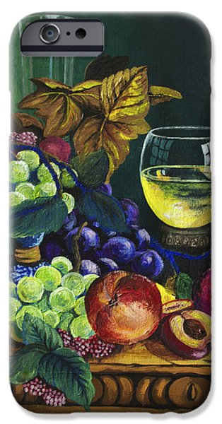 Wine Reflection Art iPhone Cases - Fruit and Wine iPhone Case by Karon Melillo DeVega