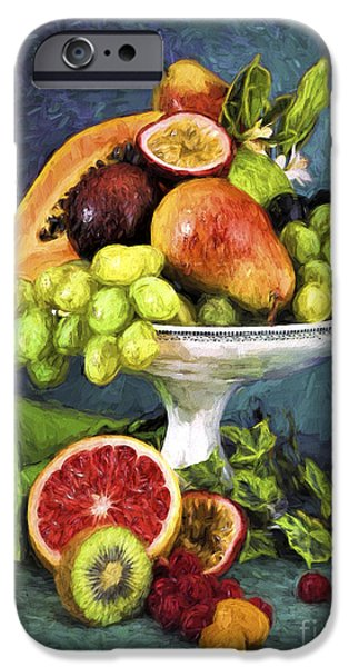 Abstract Digital Pyrography iPhone Cases - Fruit Bowl iPhone Case by Mauro Celotti