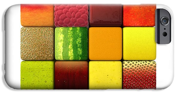 Pears iPhone Cases - Fruit Cubes iPhone Case by Allan Swart