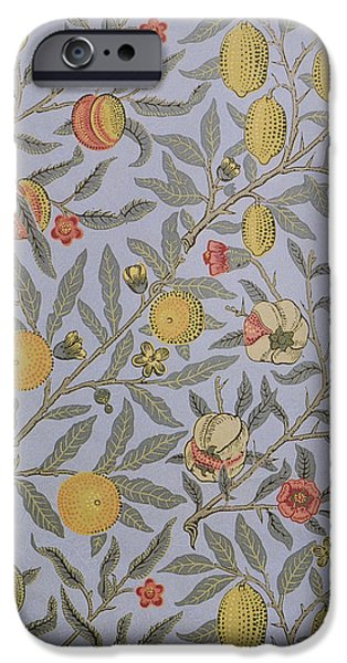 Food And Beverage Tapestries - Textiles iPhone Cases - Fruit Design 1866 iPhone Case by William Morris