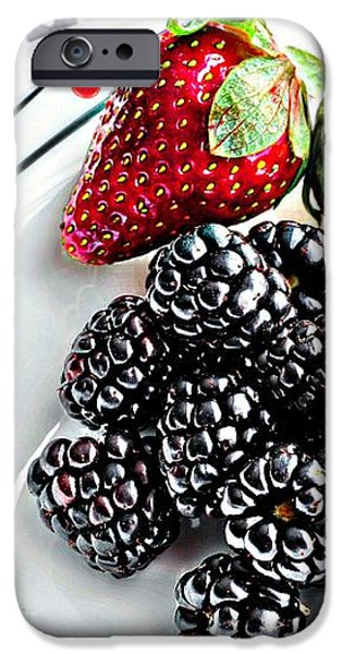 Fruit I - Strawberries - Blackberries iPhone Case by Barbara Griffin