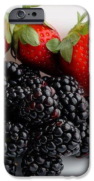 Fruit iii - Strawberries - Blackberries iPhone Case by Barbara Griffin