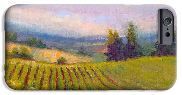 Contemplative Paintings iPhone Cases - Fruit of the Vine - Sokol Blosser Winery iPhone Case by Talya Johnson