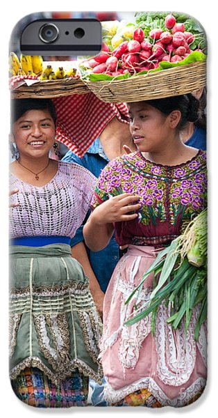 Yellow Images iPhone Cases - Fruit Sellers in Antigua Guatemala iPhone Case by David Smith