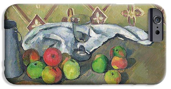 Decorative Fine Art iPhone Cases - Fruit Serviette and Milk Jug iPhone Case by Paul Cezanne