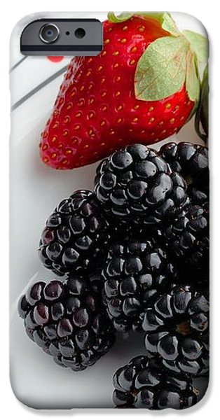 Fruit V - Strawberries - Blackberries iPhone Case by Barbara Griffin