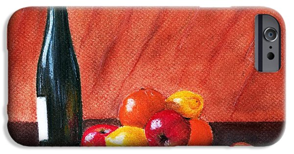 Interior Still Life Pastels iPhone Cases - Fruits and Wine iPhone Case by Anastasiya Malakhova