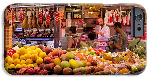 Business Photographs iPhone Cases - Fruits At Market Stalls, La Boqueria iPhone Case by Panoramic Images