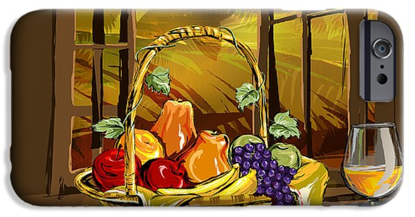 Basket Mixed Media iPhone Cases - Fruits Basket iPhone Case by Bedros Awak