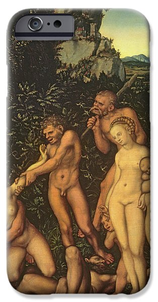 Fruit Tree Paintings iPhone Cases - Fruits of Jealousy iPhone Case by Lucas the elder Cranach