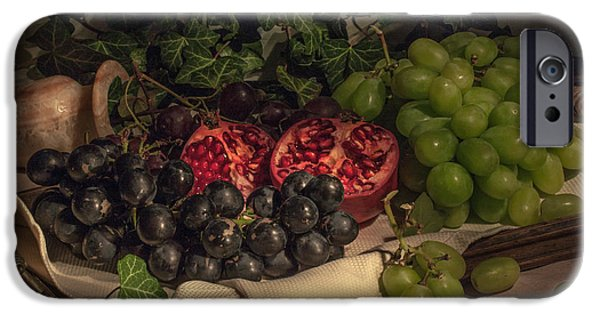 Red Wine Pyrography iPhone Cases - Fruits On Vintage Tray iPhone Case by Natasha Breen