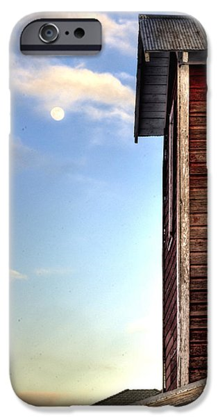 Ft. Collins iPhone Cases - Ft Collins Barn and Moon 13586 iPhone Case by Jerry Sodorff