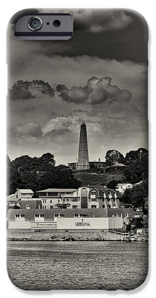 American Revolution iPhone Cases - Ft Griswald Monument Black and White iPhone Case by Joshua House