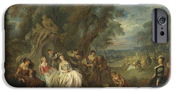 Society iPhone Cases - Fête Champêtre, C. 1730 Oil On Canvas iPhone Case by Jean-Baptiste Joseph Pater