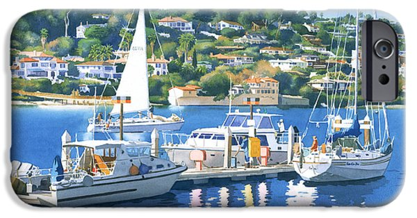 Yachts iPhone Cases - Fuel Dock Shelter Island San Diego iPhone Case by Mary Helmreich