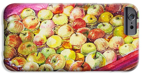 Crops Paintings iPhone Cases - Fuji Apples in the Water iPhone Case by Irina Sztukowski