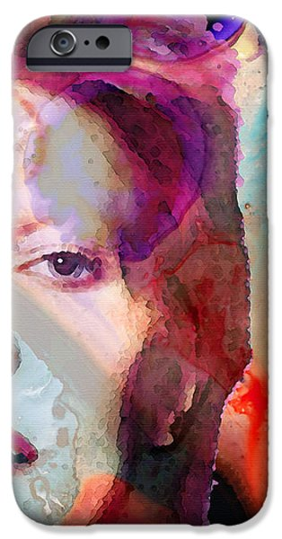 David Mixed Media iPhone Cases - Full Color - David Bowie Art iPhone Case by Sharon Cummings