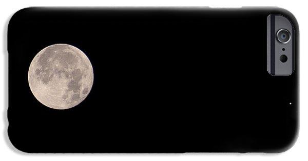 Galilean Moon iPhone Cases - Full Moon & Jupiter iPhone Case by John Chumack
