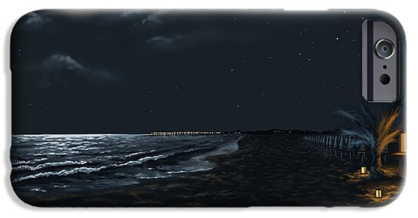 Blue Sky Reflection iPhone Cases - Full moon above the Mediterranean sea iPhone Case by Veronica Minozzi