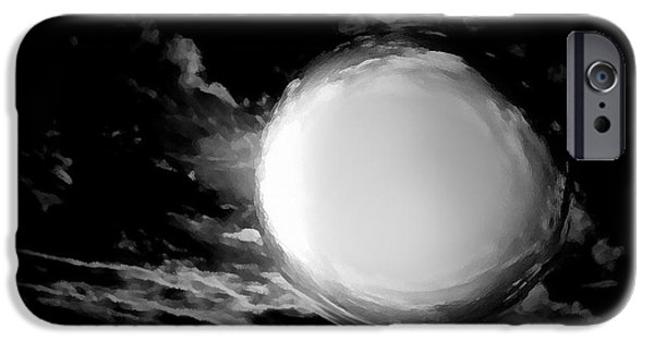 Moon Pyrography iPhone Cases - Full Moon iPhone Case by Aleksandra Nikolic