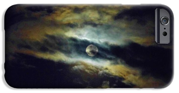 Moonscape iPhone Cases - Full Moon and Clouds iPhone Case by D Hackett
