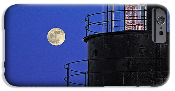 West Quoddy Head Lighthouse iPhone Cases - Full Moon and West Quoddy Head Lighthouse Beacon iPhone Case by Marty Saccone