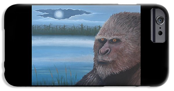 Creepy Paintings iPhone Cases - Full Moon at Boggy Creek iPhone Case by Stuart Swartz