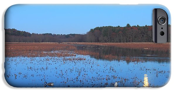 Concord Massachusetts iPhone Cases - Full Moon at Great Meadows National Wildlife Refuge iPhone Case by John Burk