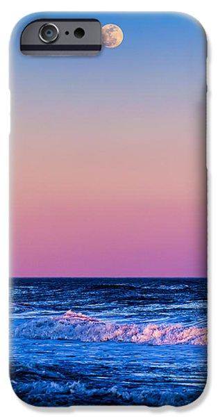 York Beach iPhone Cases - Full Moon at Sea iPhone Case by Ryan Moore