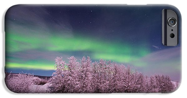 Snowy Night iPhone Cases - Full Moon Lights iPhone Case by Priska Wettstein