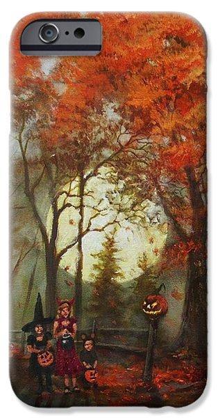 Jack O Lantern iPhone Cases - Full Moon on Halloween Lane iPhone Case by Tom Shropshire