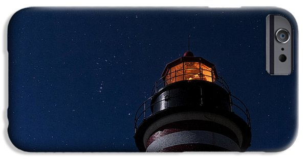 West Quoddy Head Lighthouse iPhone Cases - Full Moon on Quoddy iPhone Case by Marty Saccone