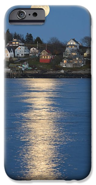 East Village iPhone Cases - Full Moon Over Georgetown Island Maine iPhone Case by Keith Webber Jr