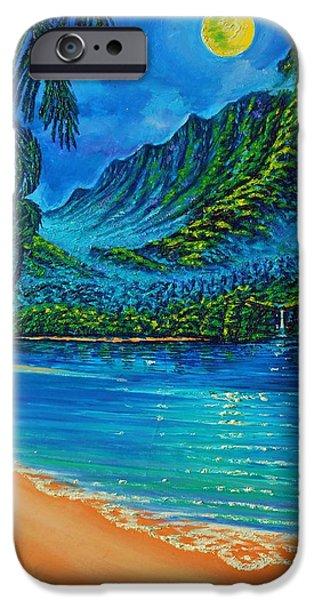 Moonscape iPhone Cases - Full Moon over Kahana Bay iPhone Case by Joseph   Ruff