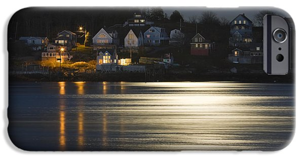 Down East iPhone Cases - Full Moon Over Kennebec River Georgetown Island Maine iPhone Case by Keith Webber Jr