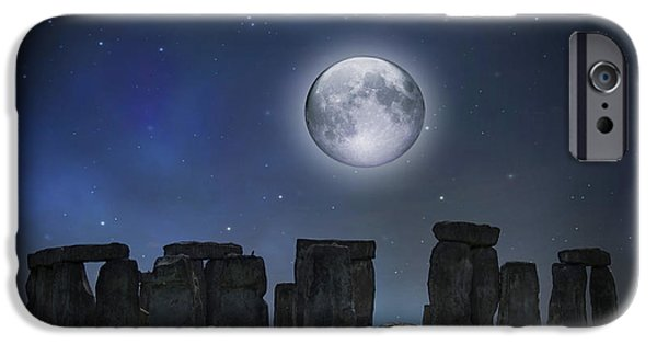 Civilization iPhone Cases - Full Moon Over Stonehenge iPhone Case by Juli Scalzi