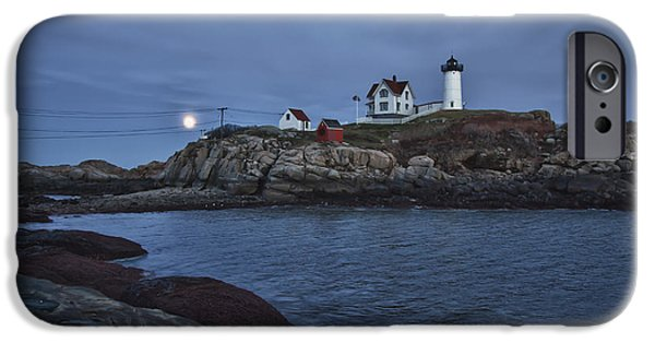 Nubble Lighthouse iPhone Cases - Full Moon Rise Over Nubble iPhone Case by Jeff Folger